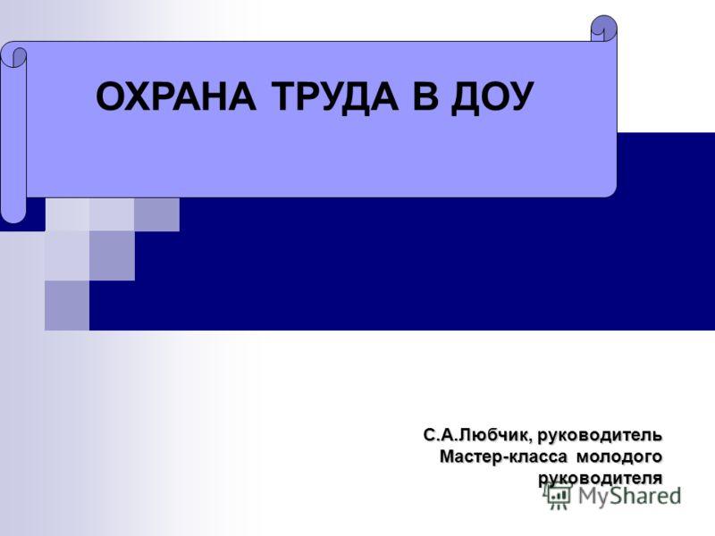 ОХРАНА ТРУДА В ДОУ С.А.Любчик, руководитель Мастер-класса молодого руководителя