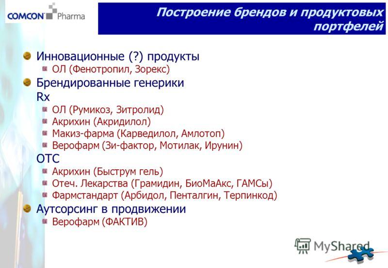Инновационные (?) продукты ОЛ (Фенотропил, Зорекс) Брендированные генерики Rx ОЛ (Румикоз, Зитролид) Акрихин (Акридилол) Макиз-фарма (Карведилол, Амлотоп) Верофарм (Зи-фактор, Мотилак, Ирунин) OTC Акрихин (Быструм гель) Отеч. Лекарства (Грамидин, Био