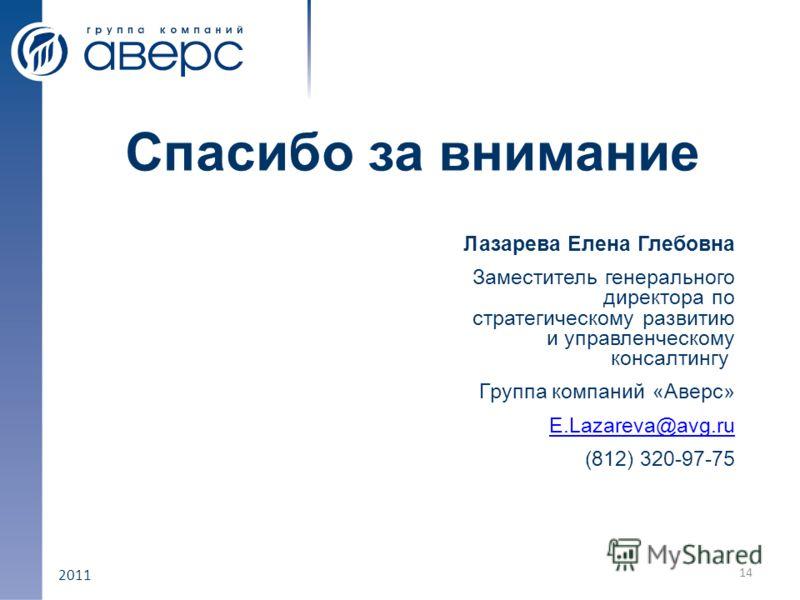 2011 Спасибо за внимание Лазарева Елена Глебовна Заместитель генерального директора по стратегическому развитию и управленческому консалтингу Группа компаний «Аверс» E.Lazareva@avg.ru (812) 320-97-75 14