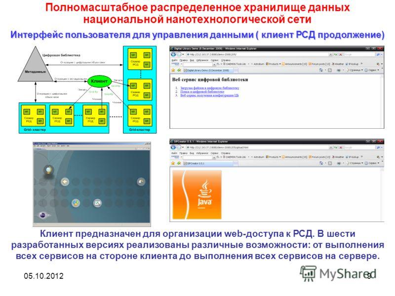 20.08.20129 Клиент предназначен для организации web-доступа к РСД. В шести разработанных версиях реализованы различные возможности: от выполнения всех сервисов на стороне клиента до выполнения всех сервисов на сервере. Полномасштабное распределенное