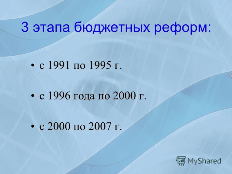 3 этапа бюджетных реформ: с 1991 по 1995 г.с 1991 по 1995 г. с 1996 года по 2000 г.с 1996 года по 2000 г. с 2000 по 2007 г.с 2000 по 2007 г.