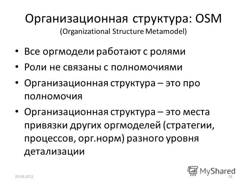 Организационная структура: OSM (Organizational Structure Metamodel) Все оргмодели работают с ролями Роли не связаны с полномочиями Организационная структура – это про полномочия Организационная структура – это места привязки других оргмоделей (страте