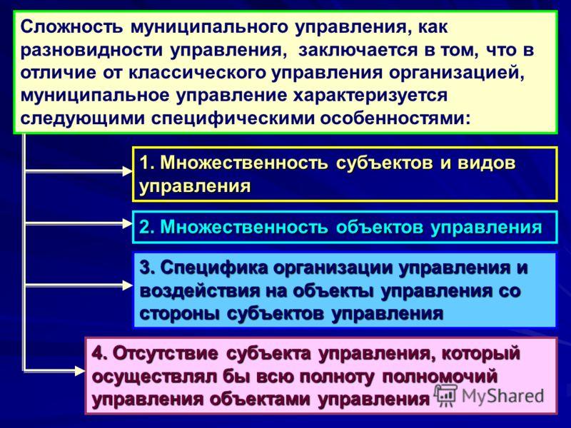 Сложность муниципального управления, как разновидности управления, заключается в том, что в отличие от классического управления организацией, муниципальное управление характеризуется следующими специфическими особенностями: 1. Множественность субъект