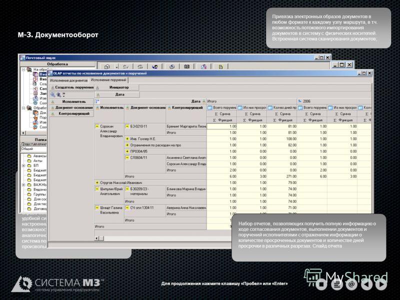 М -3. Документооборот Система обработки, хранения и анализа информационных потоков, существующих на предприятии. Представлена в виде централизованной картотеки документов с возможностью назначения им произвольных атрибутов, привязанных к иерархическо