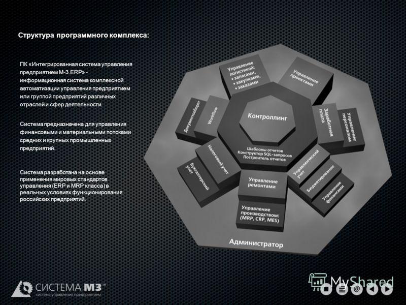 Структура программного комплекса: ПК «Интегрированная система управления предприятием М-3.ERP» - информационная система комплексной автоматизации управления предприятием или группой предприятий различных отраслей и сфер деятельности. Система предназн