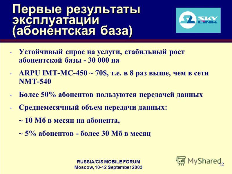 RUSSIA/CIS MOBILE FORUM Moscow, 10-12 September 2003 12 Первые результаты эксплуатации (абонентская база) Устойчивый спрос на услуги, стабильный рост абонентской базы - 30 000 на ARPU IMT-MC-450 ~ 70$, т.е. в 8 раз выше, чем в сети NMT-540 Более 50%