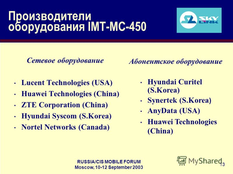 RUSSIA/CIS MOBILE FORUM Moscow, 10-12 September 2003 13 Производители оборудования IMT-MC-450 Сетевое оборудование Lucent Technologies (USA) Huawei Technologies (China) ZTE Corporation (China) Hyundai Syscom (S.Korea) Nortel Networks (Canada) Абонент