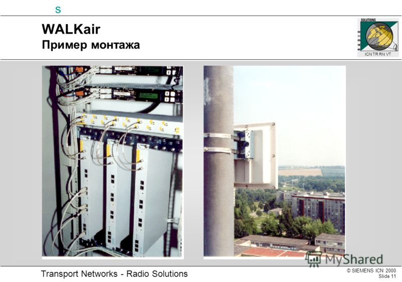 © SIEMENS ICN 2000 Slide 11 Transport Networks - Radio Solutions s ICN TR RN VT WALKair Пример монтажа