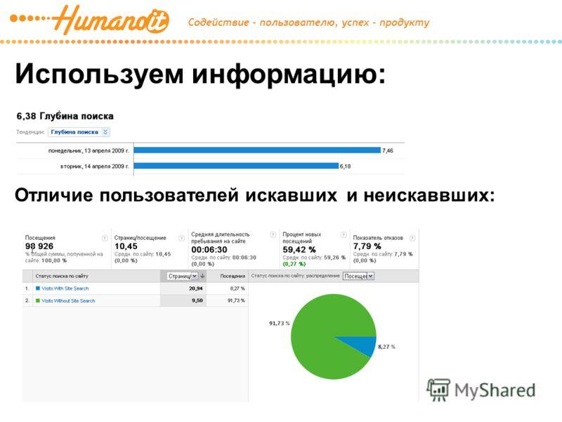 Используем информацию: Отличие пользователей искавших и неискаввших: