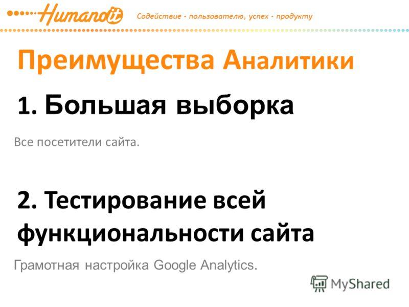 Преимущества А налитики 1. Большая выборка Все посетители сайта. 2. Тестирование всей функциональности сайта Грамотная настройка Google Analytics.