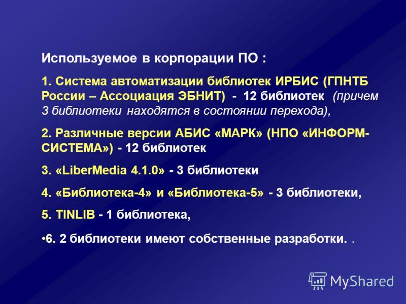 Используемое в корпорации ПО : 1. Система автоматизации библиотек ИРБИС (ГПНТБ России – Ассоциация ЭБНИТ) - 12 библиотек (причем 3 библиотеки находятся в состоянии перехода), 2. Различные версии АБИС «МАРК» (НПО «ИНФОРМ- СИСТЕМА») - 12 библиотек 3. «