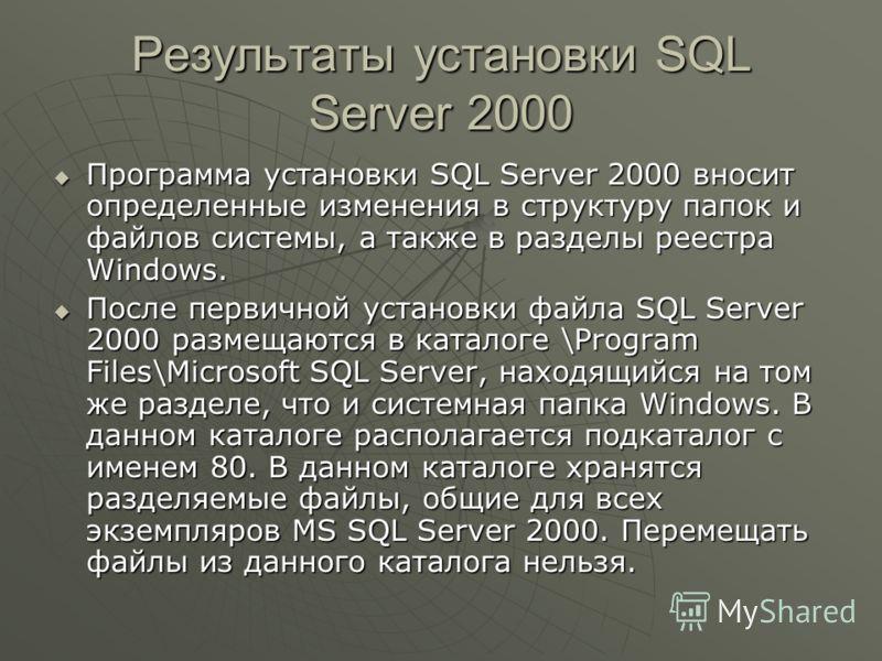Результаты установки SQL Server 2000 Программа установки SQL Server 2000 вносит определенные изменения в структуру папок и файлов системы, а также в разделы реестра Windows. Программа установки SQL Server 2000 вносит определенные изменения в структур