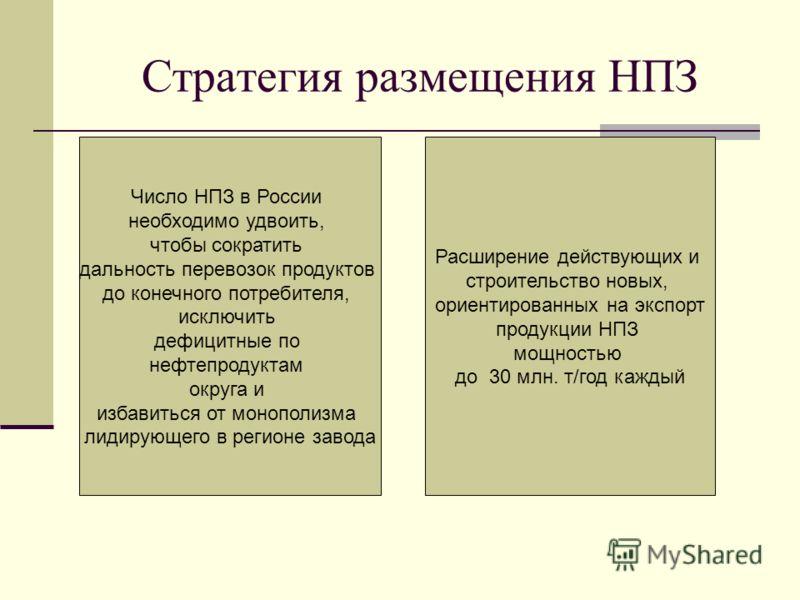 Стратегия размещения НПЗ Число НПЗ в России необходимо удвоить, чтобы сократить дальность перевозок продуктов до конечного потребителя, исключить дефицитные по нефтепродуктам округа и избавиться от монополизма лидирующего в регионе завода Расширение