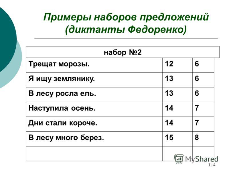 114 Примеры наборов предложений (диктанты Федоренко) набор 2 Трещат морозы.126 Я ищу землянику.136 В лесу росла ель.136 Наступила осень.147 Дни стали короче.147 В лесу много берез.158