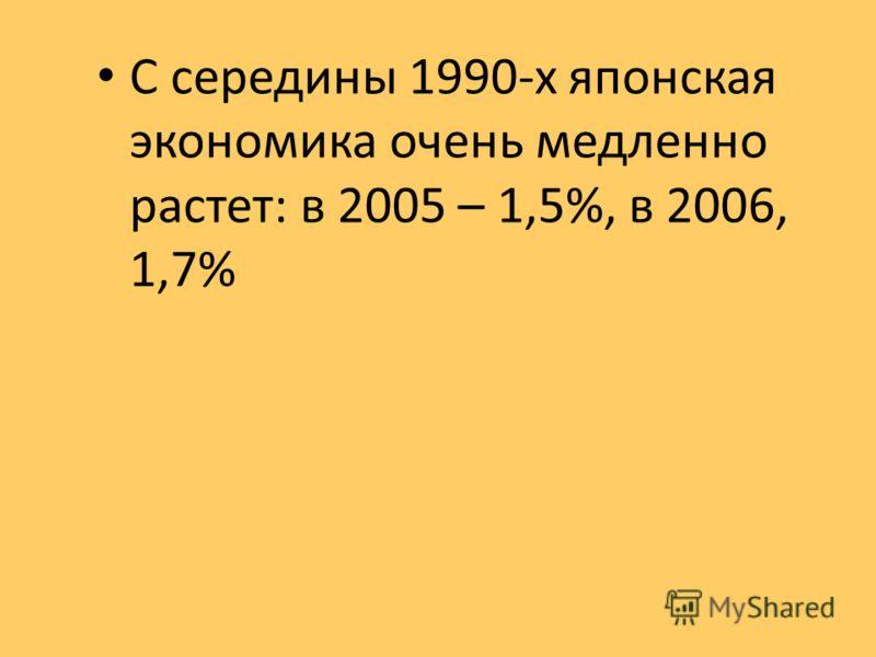 С середины 1990-х японская экономика очень медленно растет: в 2005 – 1,5%, в 2006, 1,7%