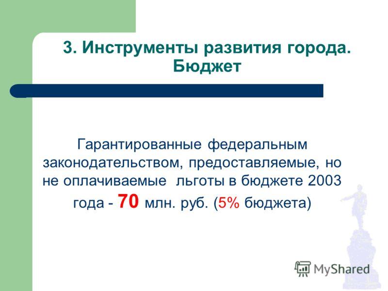 3. Инструменты развития города. Бюджет Гарантированные федеральным законодательством, предоставляемые, но не оплачиваемые льготы в бюджете 2003 года - 70 млн. руб. (5% бюджета)