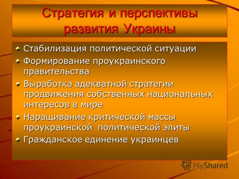 Стратегия и перспективы развития Украины Стабилизация политической ситуации Формирование проукраинского правительства Выработка адекватной стратегии продвижения собственных национальных интересов в мире Наращивание критической массы проукраинской пол