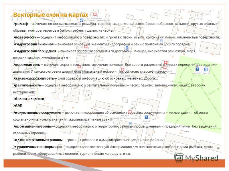 Векторные слои на картах рельеф включает основные элементы рельефа: горизонтали, отметки высот, бровки обрывов, тальвеги, крутые склоны и обрывы, контуры оврагов и балок, гребни, ущелья, каньоны; поверхности содержит информацию о поверхностях и грунт