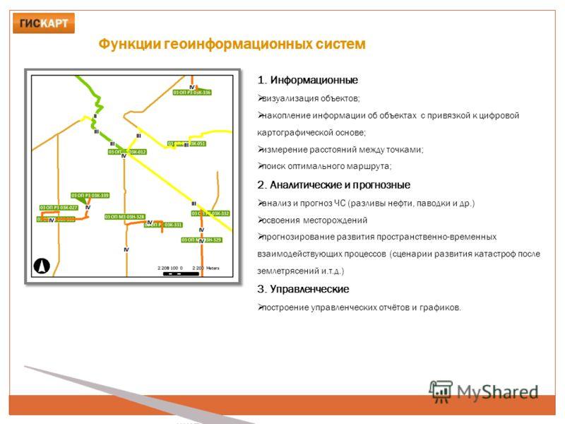 Функции геоинформационных систем 1. Информационные визуализация объектов; накопление информации об объектах с привязкой к цифровой картографической основе; измерение расстояний между точками; поиск оптимального маршрута; 2. Аналитические и прогнозные