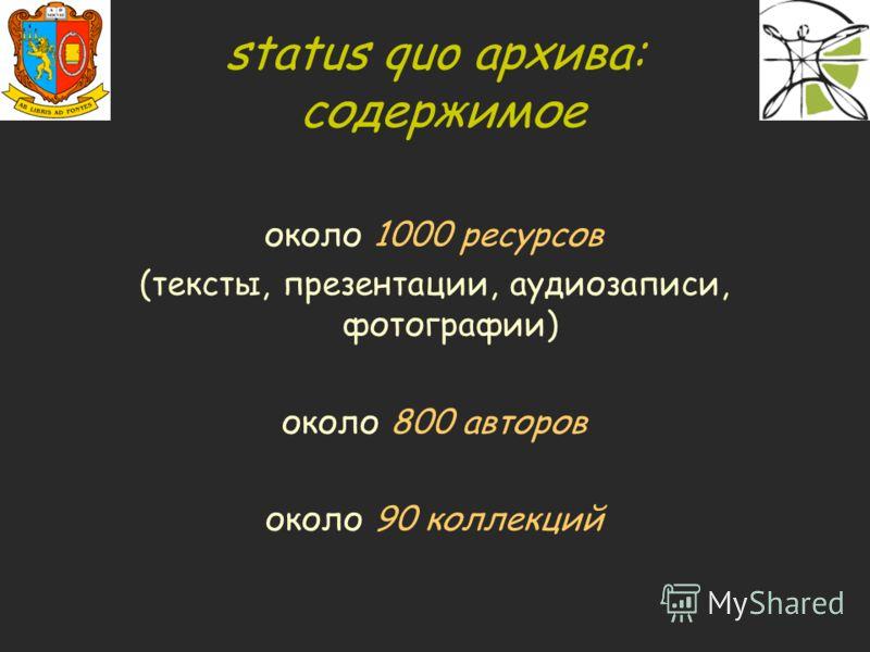 status quo архива: содержимое около 1000 ресурсов (тексты, презентации, аудиозаписи, фотографии) около 800 авторов около 90 коллекций