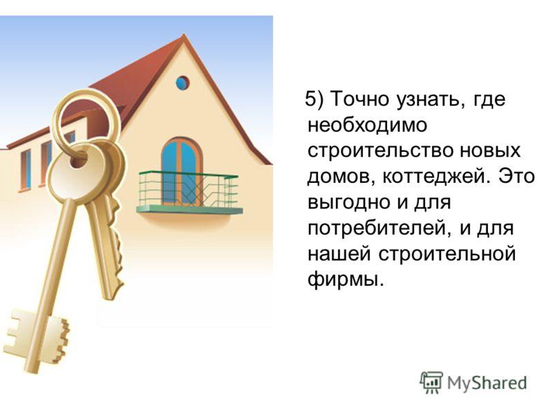 5) Точно узнать, где необходимо строительство новых домов, коттеджей. Это выгодно и для потребителей, и для нашей строительной фирмы.