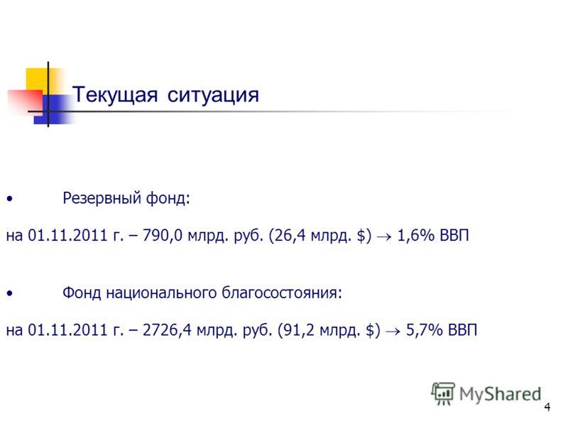 4 Текущая ситуация Резервный фонд: на 01.11.2011 г. – 790,0 млрд. руб. (26,4 млрд. $) 1,6% ВВП Фонд национального благосостояния: на 01.11.2011 г. – 2726,4 млрд. руб. (91,2 млрд. $) 5,7% ВВП