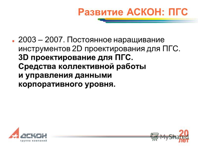 Развитие АСКОН: ПГС 2003 – 2007. Постоянное наращивание инструментов 2D проектирования для ПГС. 3D проектирование для ПГС. Средства коллективной работы и управления данными корпоративного уровня.