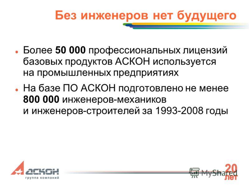 Без инженеров нет будущего Более 50 000 профессиональных лицензий базовых продуктов АСКОН используется на промышленных предприятиях На базе ПО АСКОН подготовлено не менее 800 000 инженеров-механиков и инженеров-строителей за 1993-2008 годы