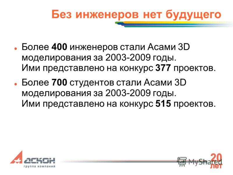 Без инженеров нет будущего Более 400 инженеров стали Асами 3D моделирования за 2003-2009 годы. Ими представлено на конкурс 377 проектов. Более 700 студентов стали Асами 3D моделирования за 2003-2009 годы. Ими представлено на конкурс 515 проектов.