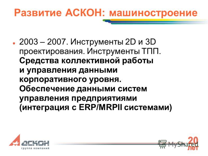 Развитие АСКОН: машиностроение 2003 – 2007. Инструменты 2D и 3D проектирования. Инструменты ТПП. Средства коллективной работы и управления данными корпоративного уровня. Обеспечение данными систем управления предприятиями (интеграция с ERP/MRPII сист