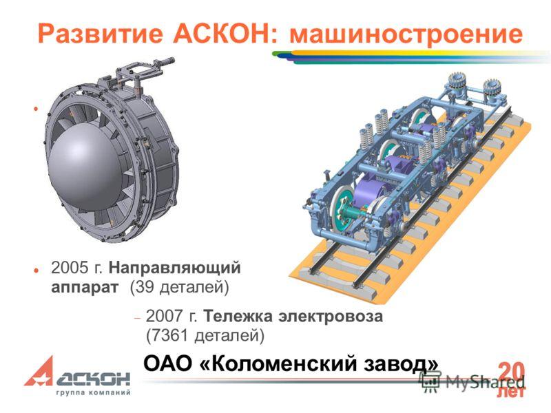 Развитие АСКОН: машиностроение 2005 г. Направляющий аппарат (39 деталей) 2007 г. Тележка электровоза (7361 деталей) ОАО «Коломенский завод»