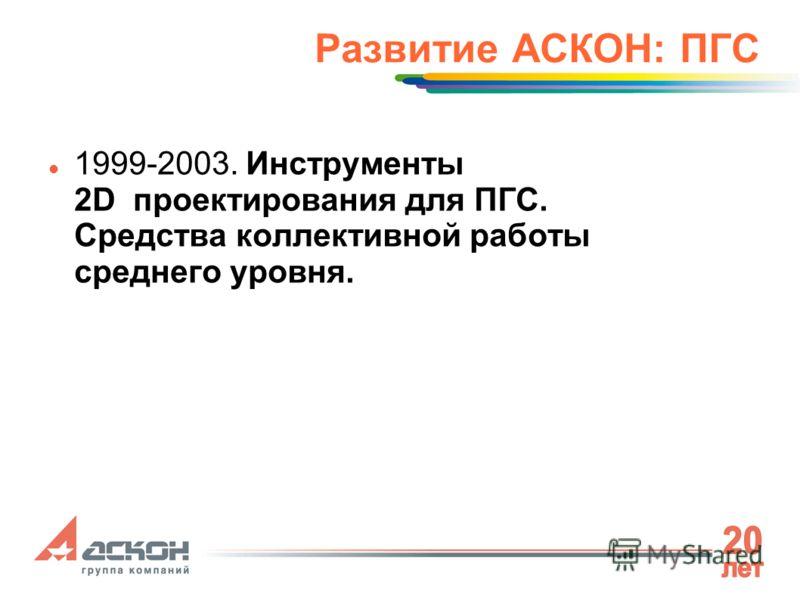Развитие АСКОН: ПГС 1999-2003. Инструменты 2D проектирования для ПГС. Средства коллективной работы среднего уровня.