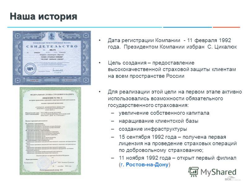 Наша история Дата регистрации Компании - 11 февраля 1992 года. Президентом Компании избран С. Цикалюк Цель создания – предоставление высококачественной страховой защиты клиентам на всем пространстве России Для реализации этой цели на первом этапе акт
