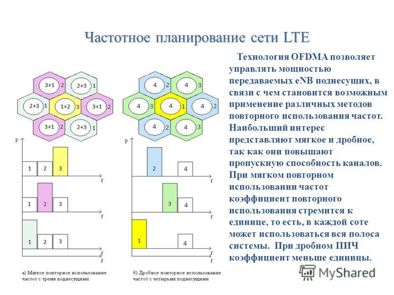 Частотное планирование сети LTE Технология OFDMA позволяет управлять мощностью передаваемых eNB поднесущих, в связи с чем становится возможным применение различных методов повторного использования частот. Наибольший интерес представляют мягкое и дроб