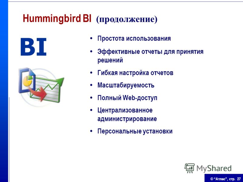 © Атлас, стр. 27 Простота использования Эффективные отчеты для принятия решений Гибкая настройка отчетов Масштабируемость Полный Web-доступ Централизованное администрирование Персональные установки BI Hummingbird BI (продолжение)