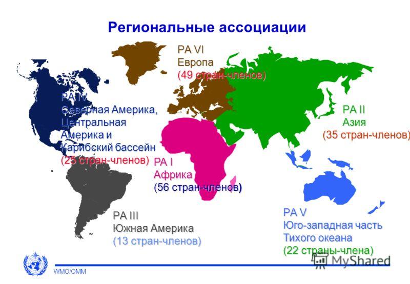 Региональные ассоциации Содействуют сотрудничеству между странами-членами по вопросам, относящимся к работе НМГС Стимулируют развитие метеорологических, гидрологических и смежных дисциплин Содействуют выполнению решений Конгресса и Исполнительного Со
