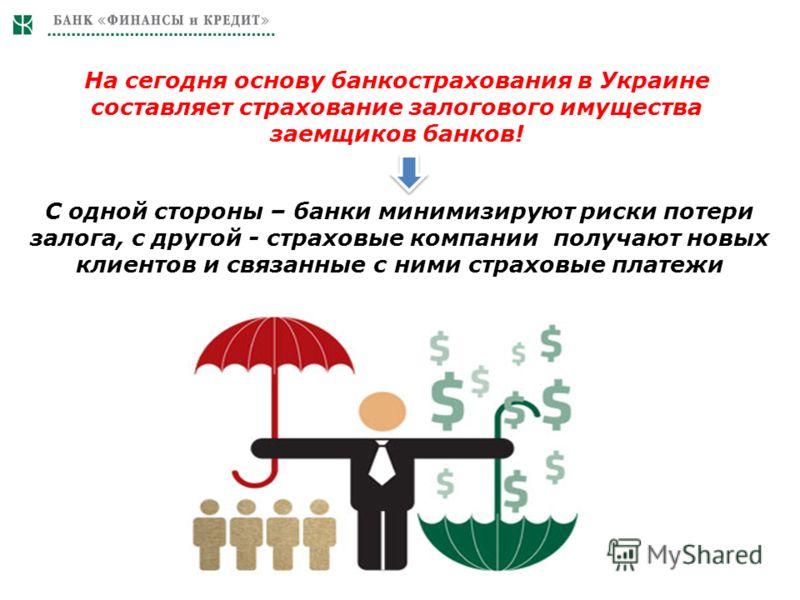 На сегодня основу банкострахования в Украине составляет страхование залогового имущества заемщиков банков! С одной стороны – банки минимизируют риски потери залога, с другой - страховые компании получают новых клиентов и связанные с ними страховые пл