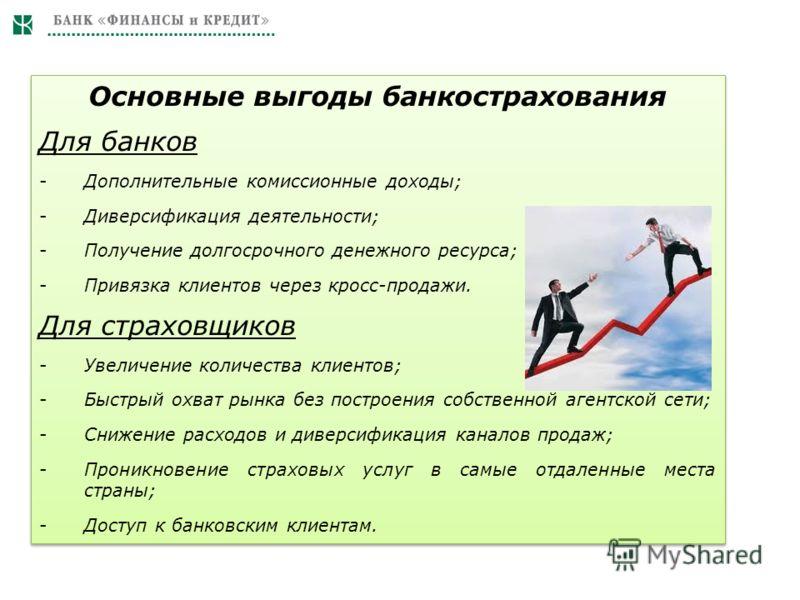 Основные выгоды банкострахования Для банков -Дополнительные комиссионные доходы; -Диверсификация деятельности; -Получение долгосрочного денежного ресурса; -Привязка клиентов через кросс-продажи. Для страховщиков -Увеличение количества клиентов; -Быст