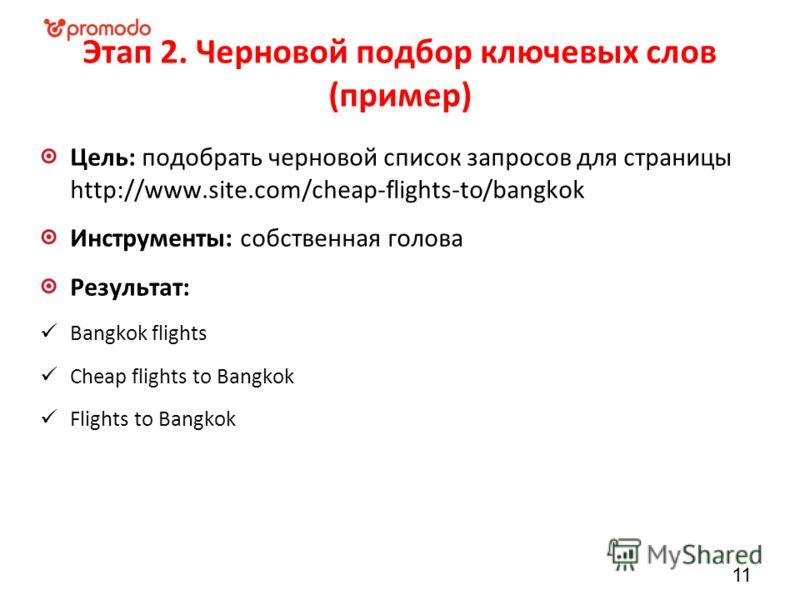 Этап 2. Черновой подбор ключевых слов (пример) Цель: подобрать черновой список запросов для страницы http://www.site.com/cheap-flights-to/bangkok Инструменты: собственная голова Результат: Bangkok flights Cheap flights to Bangkok Flights to Bangkok 1