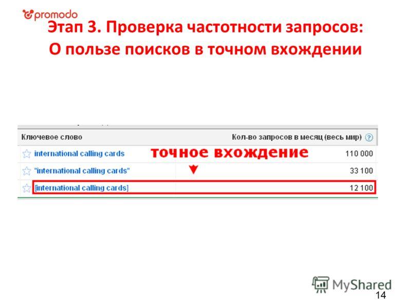 Этап 3. Проверка частотности запросов: О пользе поисков в точном вхождении 14
