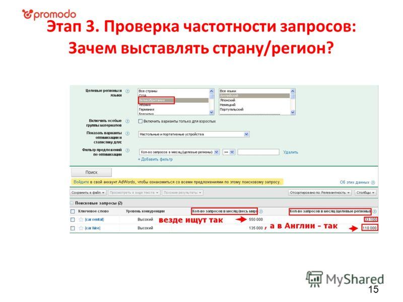 Этап 3. Проверка частотности запросов: Зачем выставлять страну/регион? 15