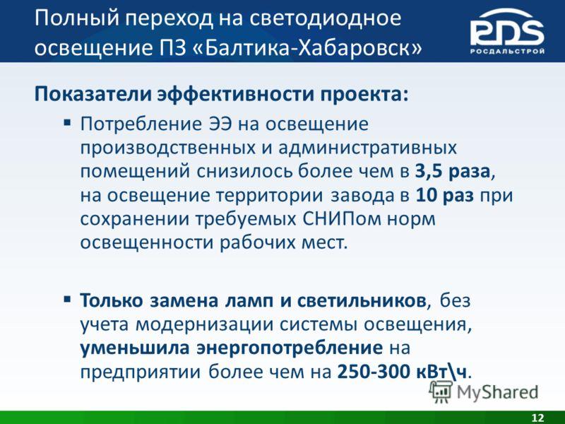 Полный переход на светодиодное освещение ПЗ «Балтика-Хабаровск» 12 Показатели эффективности проекта: Потребление ЭЭ на освещение производственных и административных помещений снизилось более чем в 3,5 раза, на освещение территории завода в 10 раз при