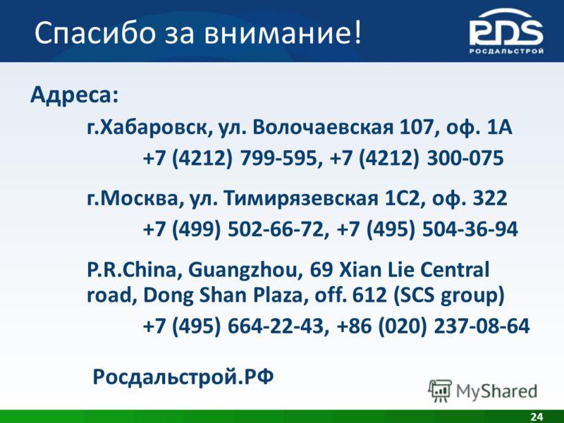 Спасибо за внимание! 24 Адреса: г.Хабаровск, ул. Волочаевская 107, оф. 1А +7 (4212) 799-595, +7 (4212) 300-075 г.Москва, ул. Тимирязевская 1С2, оф. 322 +7 (499) 502-66-72, +7 (495) 504-36-94 P.R.China, Guangzhou, 69 Xian Lie Central road, Dong Shan P