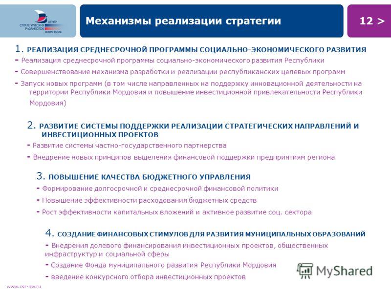 12 > www.csr-nw.ru Механизмы реализации стратегии 1. РЕАЛИЗАЦИЯ СРЕДНЕСРОЧНОЙ ПРОГРАММЫ СОЦИАЛЬНО-ЭКОНОМИЧЕСКОГО РАЗВИТИЯ - Реализация среднесрочной программы социально-экономического развития Республики - Совершенствование механизма разработки и реа