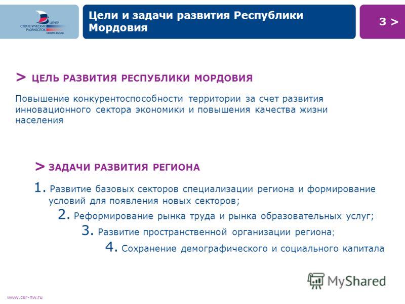 3 >3 > www.csr-nw.ru Цели и задачи развития Республики Мордовия 1. Развитие базовых секторов специализации региона и формирование условий для появления новых секторов; 2. Реформирование рынка труда и рынка образовательных услуг; 3. Развитие пространс