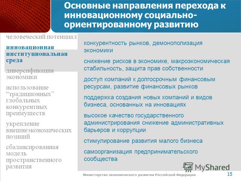 www.economy.gov.ru 15 Министерство экономического развития Российской Федерации Основные направления перехода к инновационному социально- ориентированному развитию конкурентность рынков, демонополизация экономики снижение рисков в экономике, макроэко