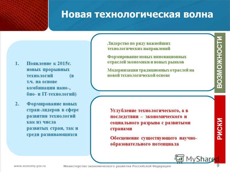 www.economy.gov.ru 9 Министерство экономического развития Российской Федерации Новая технологическая волна 1.Появление к 2015г. новых прорывных технологий (в т.ч. на основе комбинации нано-, био- и IT-технологий) 2.Формирование новых стран-лидеров в