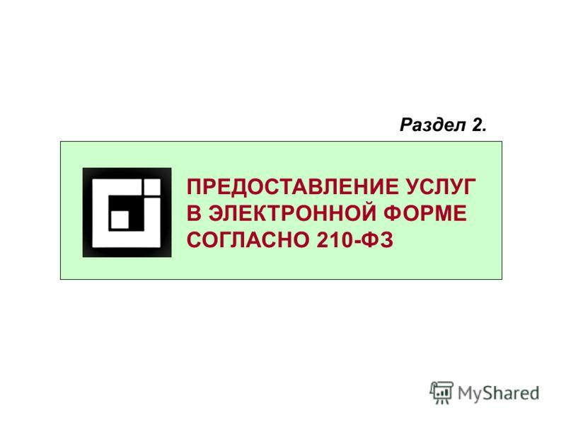 ПРЕДОСТАВЛЕНИЕ УСЛУГ В ЭЛЕКТРОННОЙ ФОРМЕ СОГЛАСНО 210-ФЗ Раздел 2.