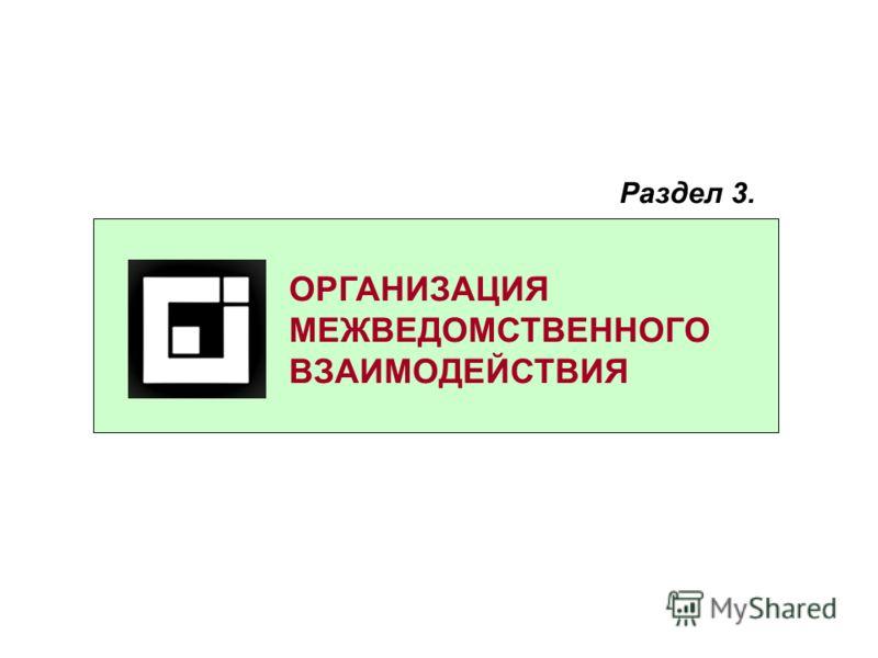 ОРГАНИЗАЦИЯ МЕЖВЕДОМСТВЕННОГО ВЗАИМОДЕЙСТВИЯ Раздел 3.