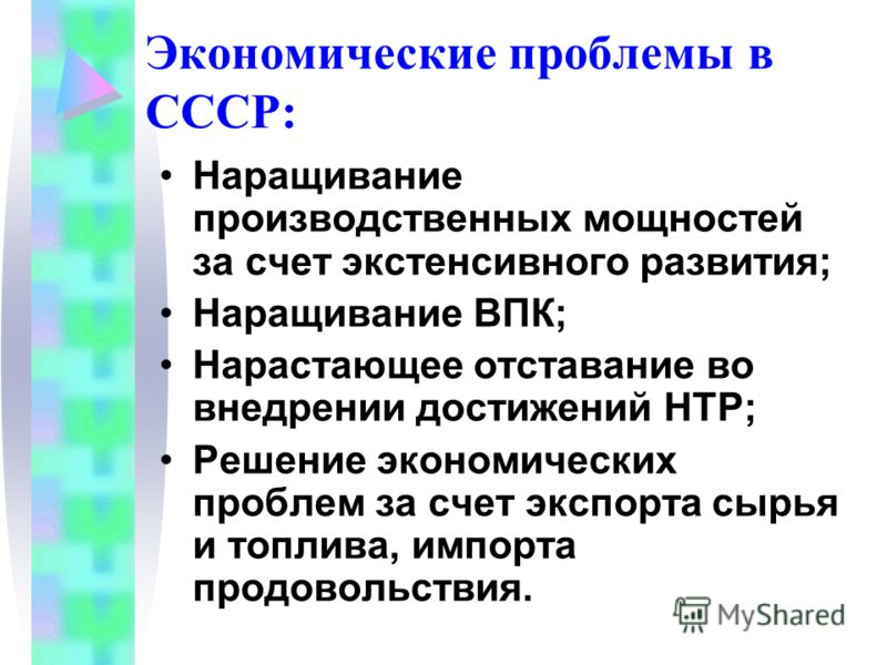 Экономические проблемы в СССР: Наращивание производственных мощностей за счет экстенсивного развития; Наращивание ВПК; Нарастающее отставание во внедрении достижений НТР; Решение экономических проблем за счет экспорта сырья и топлива, импорта продово